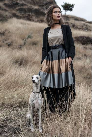 Leather midi pleated skirt