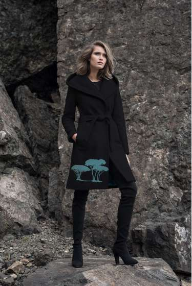 Black hooded coat with turquoise pine print