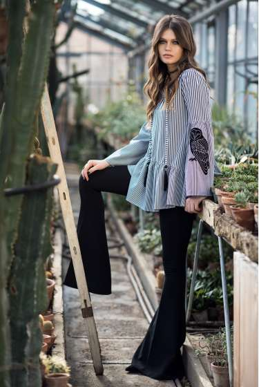 Stripes, black owl print top
