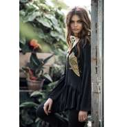 Black top with gold owl print