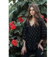 Black with gold embroidery kimono top