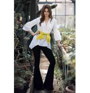 White perforated lace top with belt