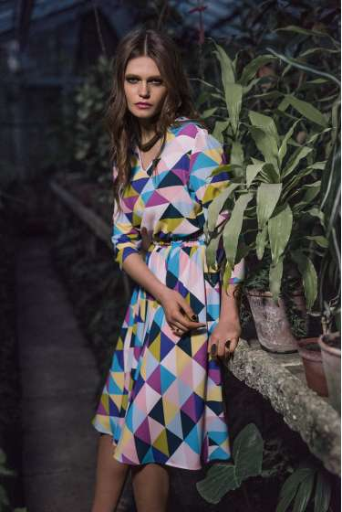 Colourful geometric signature print midi dress