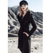 Black hooded coat with pockets