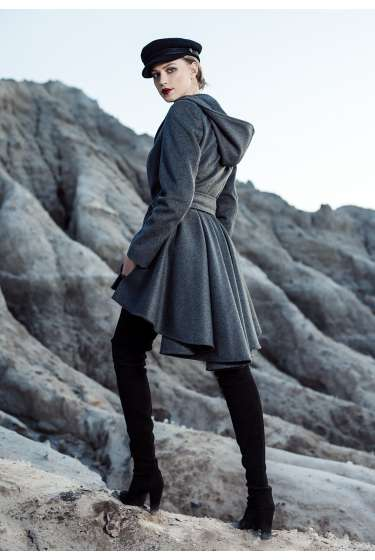 Grey hooded short-long coat