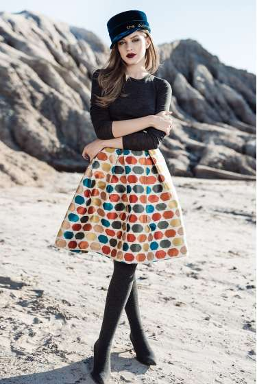Colorful dots, pleated midi skirt