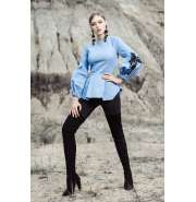 Sky-Blue top with puff sleeves and signature prints