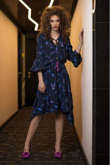 Birds print asymmetric midi dress