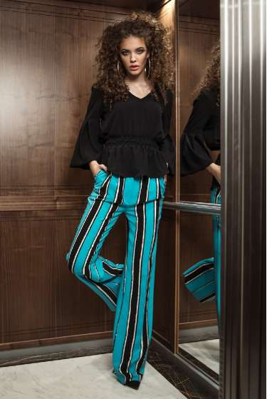Colorful stripes wide leg trousers