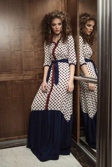 Shirt style hearts print maxi dress