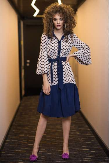 Shirt style hearts print midi dress