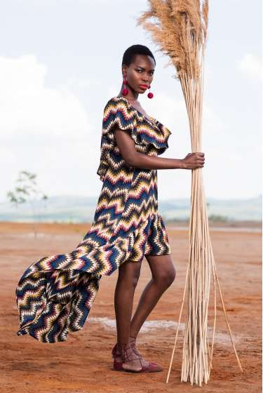Tribal print asymmetric dress