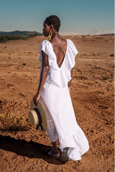 White maxi asymmetric dress