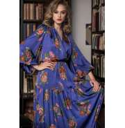 Elegant Iris blue and flowers maxi dress