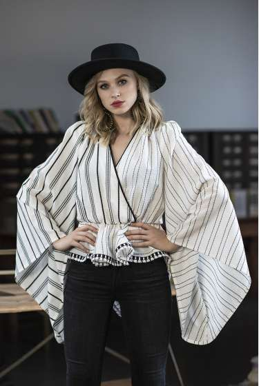 White & black stripes wrap top