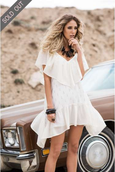 White with gold embroidery asymmetric mini dress