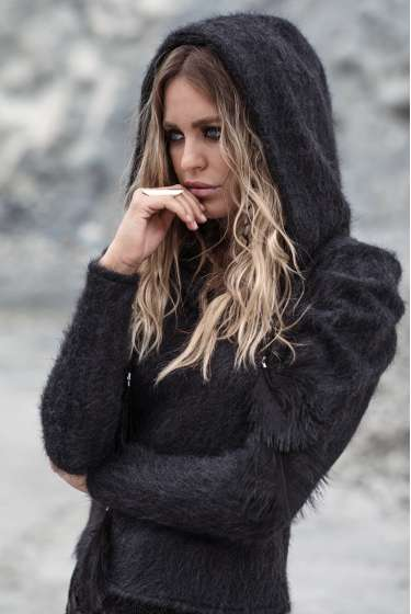 Grey textured hooded pullover
