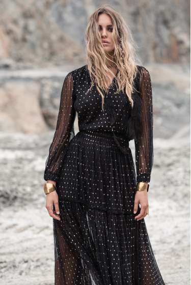 Black tulle dress with gold dots
