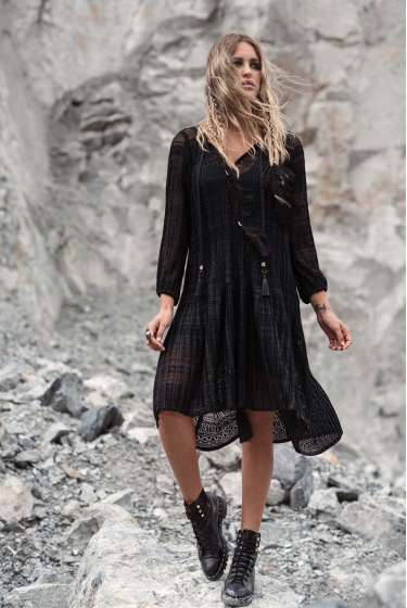 Asymmetric lace black dress