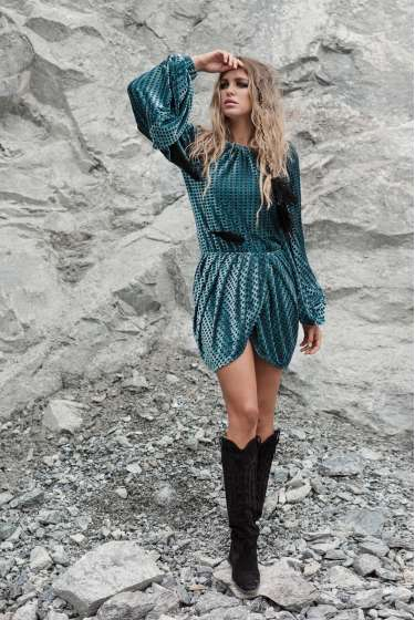 Turquoise velvet mini dress