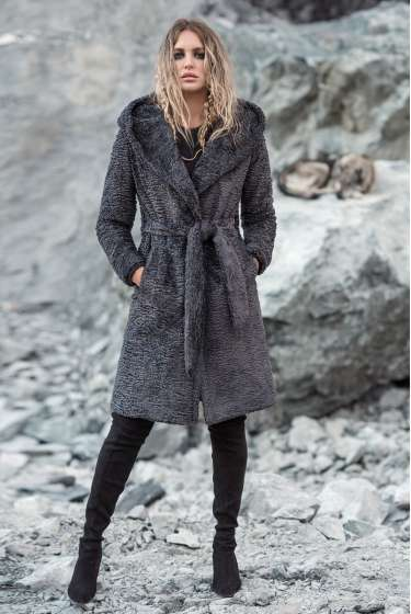 Boucle textured grey hooded coat