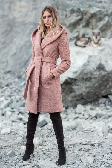 Boucle textured pink hooded coat