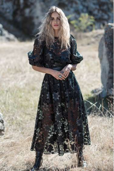 Black lace and faux leather long skirt