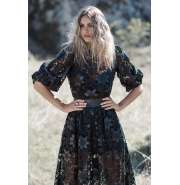 Black lace and faux leather puff sleeves top