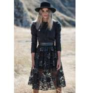 Black lace and faux leather midi skirt