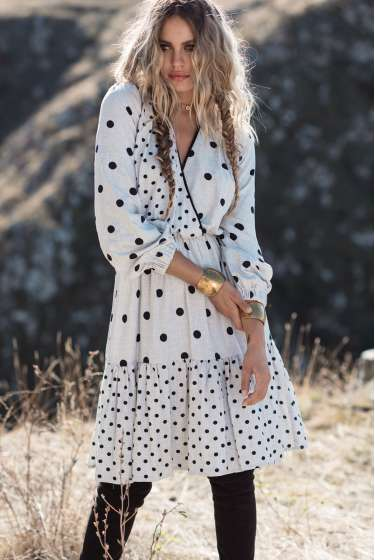 Grey & black dots midi dress