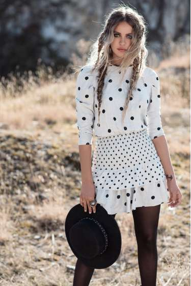 Grey & black dots mini dress