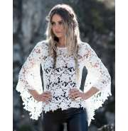 White lace flute sleeves top
