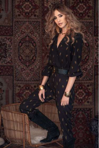 Black wrap tiger print jumpsuit