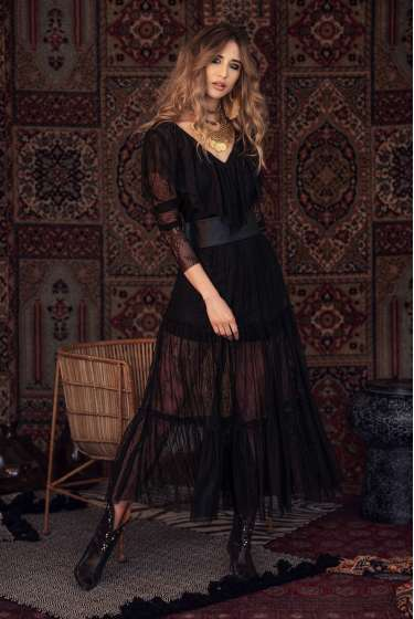 Black maxi lace dress