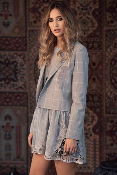 Grey check print short jacket