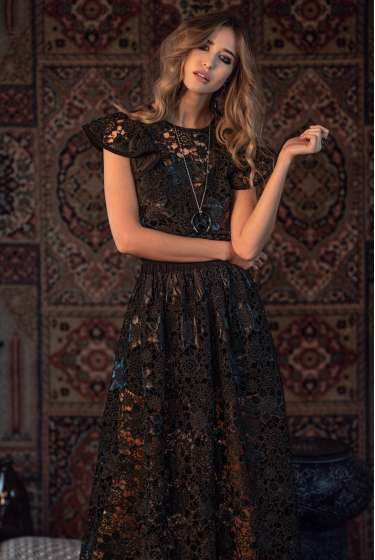 Black lace and faux leather midi dress