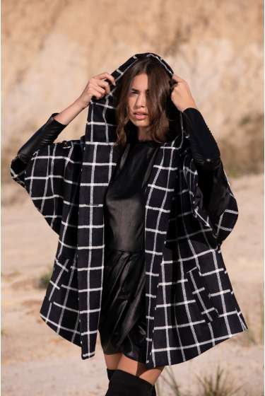 BLACK & WHITE GRID HOODED CAPE