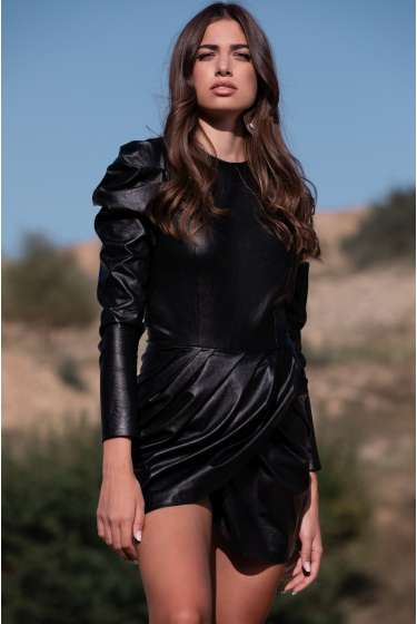 BLACK FAUX LEATHER MINI DRESS