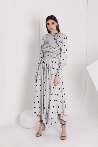 GREY & BLACK DOTS LONG DRESS