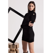 SHORT BLACK BODYCON DRESS with golden buttons