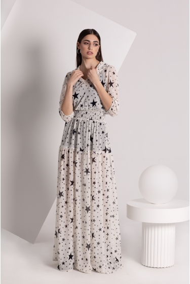 STARS MAXI HOODED DRESS
