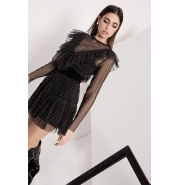 BLACK TULLE DRESS WITH GREY DOTS