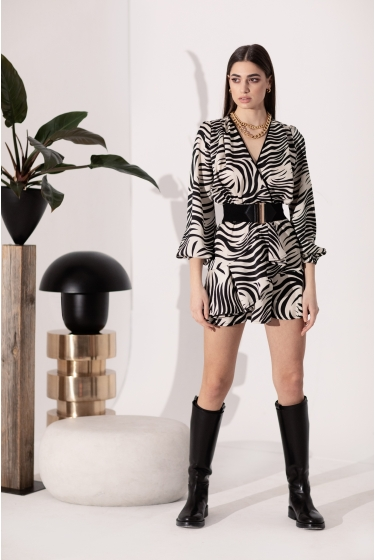 ZEBRA SHORT WRAP DRESS