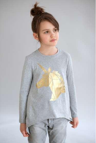 Asymmetric  Unicorn  print T-Shirt