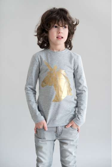 Gold Unicorn  print T-Shirt