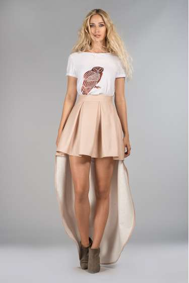 Blush pink short-long skirt
