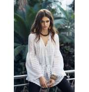 White perforated lace top